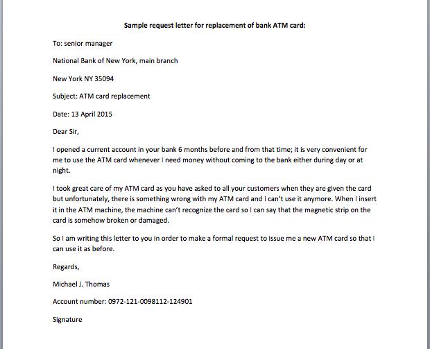 Application letter for bank atm