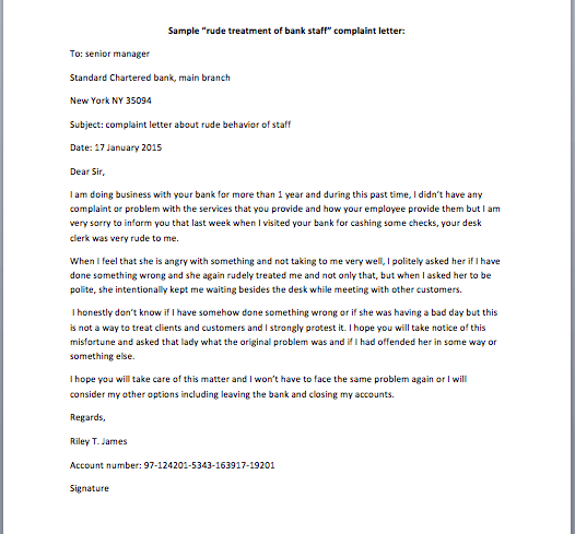 """Rude Treatment Of Bank Staff"" Complaint Letter Smart"