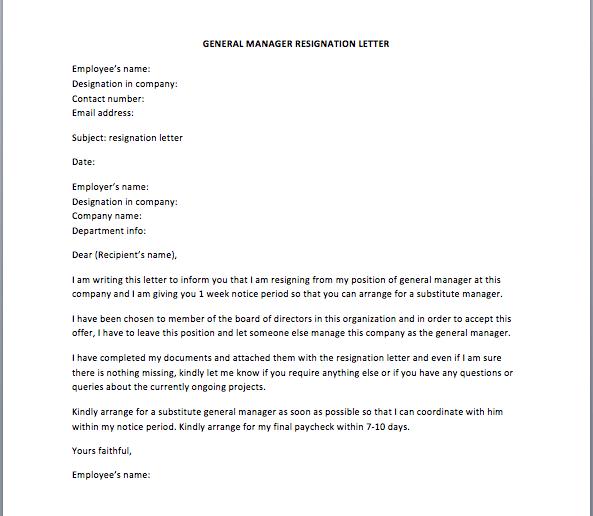 General Manager Resignation Letter Sample Smart Letters