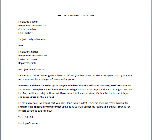 Waitress Resignation Letter Smart Letters