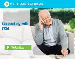 Older Caucasian Male Sitting on Couch Talking on Cell Phone to Medical Assistant in Charge of Chronic Care Management Program