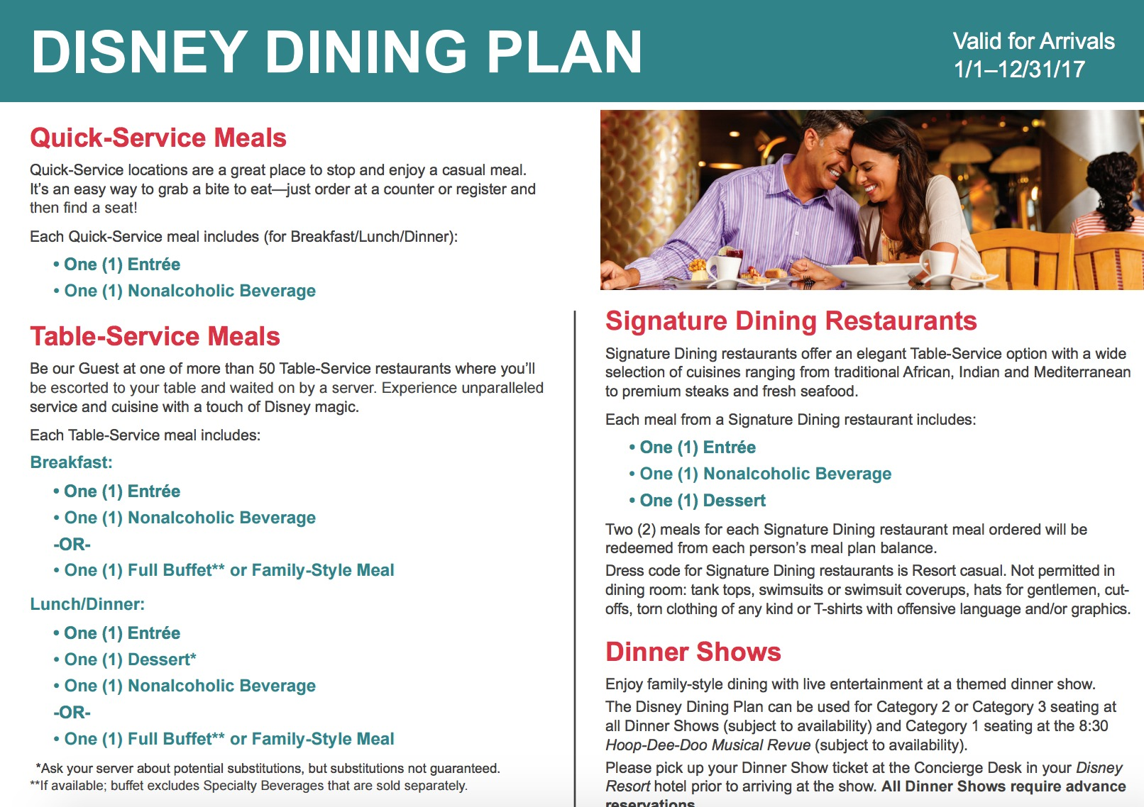 2017 Quick Service Dining Plan