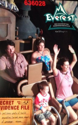 Seth's First Ride on Expedition Everest (eyes closed!)