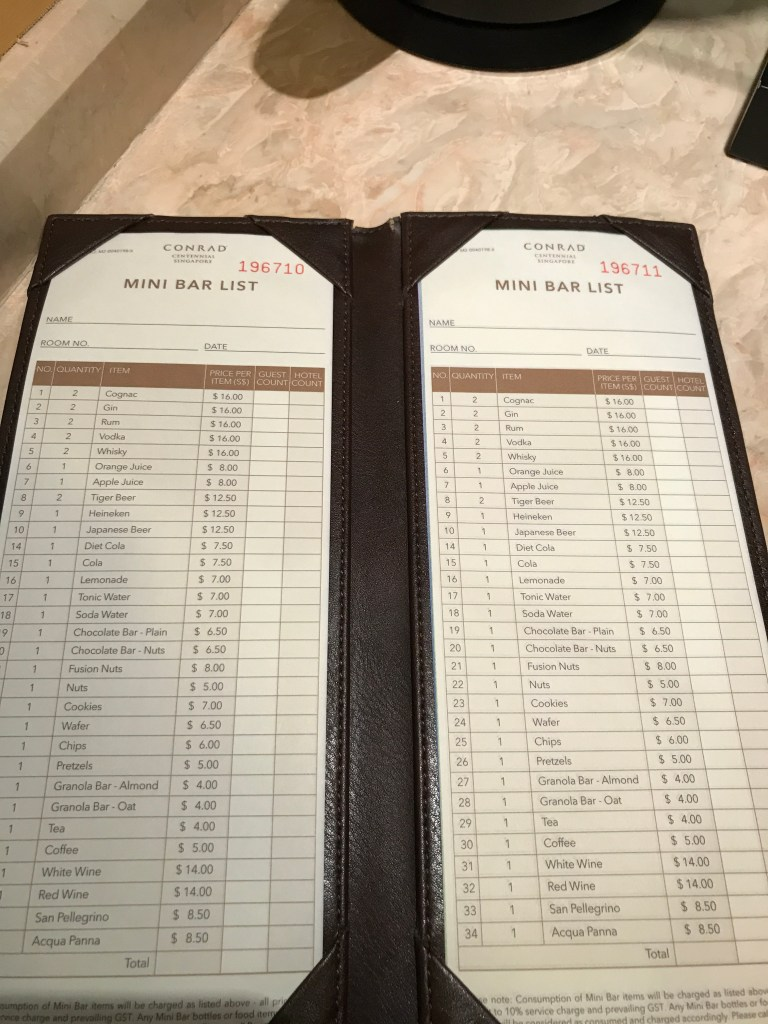Conrad Singapore, Bar Prices