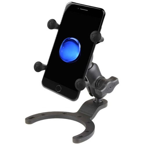"""RAM Large Gas Tank Mount with B Size 1"""" Ball Short Arm and X-Grip for Phones"""