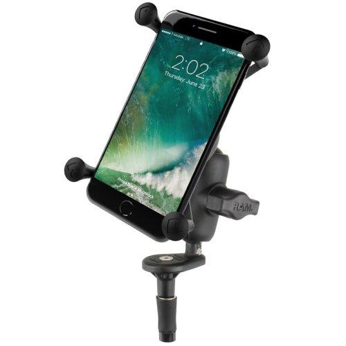 RAM Fork Stem Mount with Short Double Socket Arm & Universal X-Grip® Large Phone Cradle