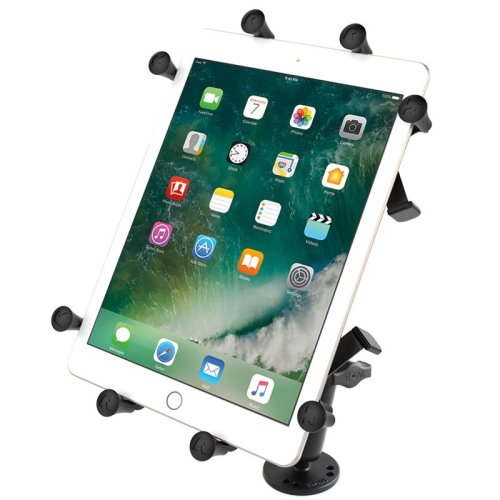"""RAM Flat Surface Mount with LONG Double Socket Arm & Universal RAM® X-Grip® Cradle for 10"""" Large Tablets"""