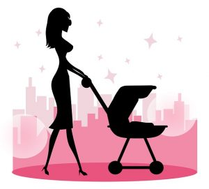icon of a girl using a baby stroller