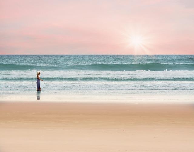 little girl in a beach
