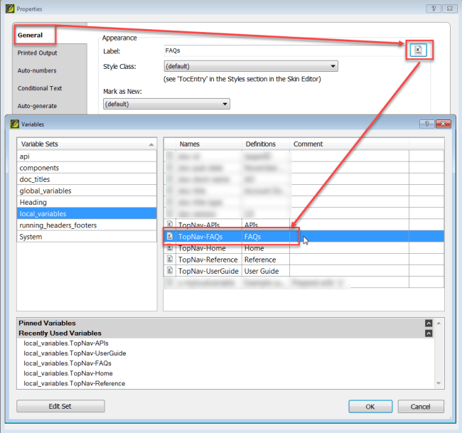 Screenshot showing how to apply a variable to TOC entry in MadCap Flare
