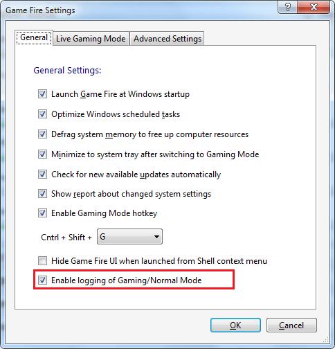 Gaming Mode Log option