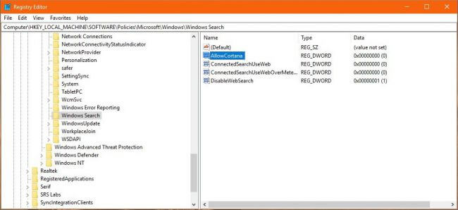 Windows 10 Disable Cortana using Windows Registry 2
