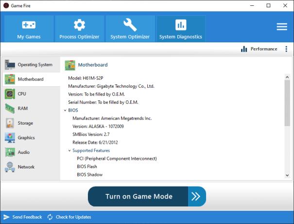 Game Fire 6.4 - System Diagnostics