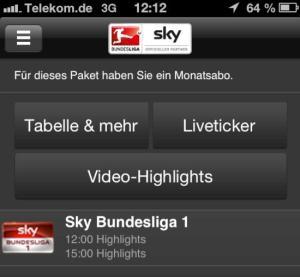Sky Bundesliga im Mobile-TV der Deutschen Telekom