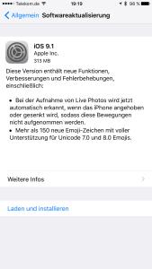 iOS 9.1 zur Installation bereit