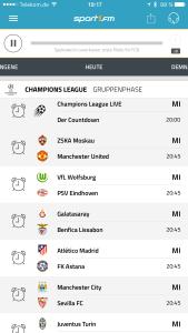 Champions League zurück bei Sport1.fm