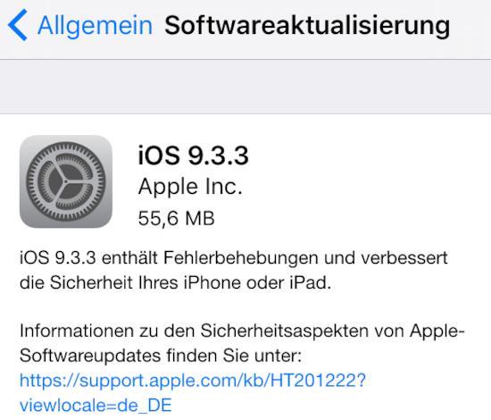 iOS 9.3.3 installiert
