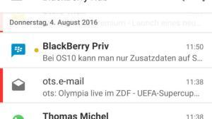 Blackberry Hub auf dem Huawei Mate 8