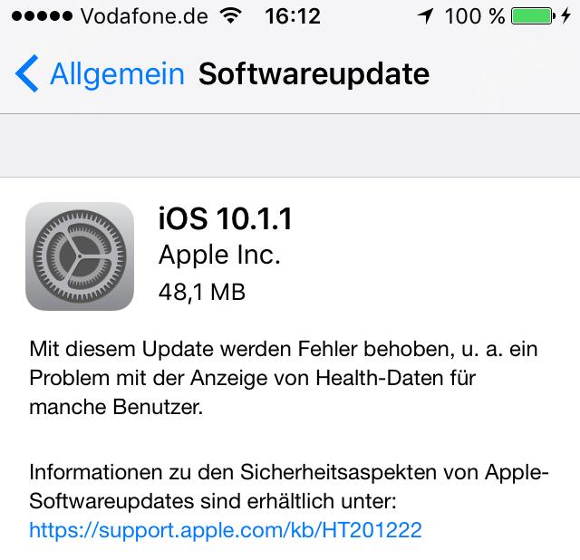 iOS 10.1.1 installiert