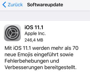 iOS 11.1 installiert