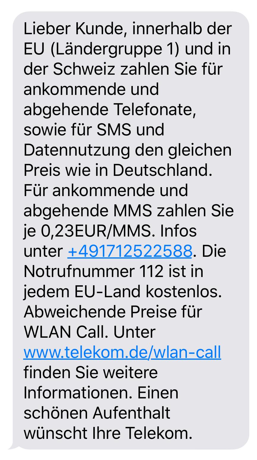 Telekom-Roaming-Info per SMS