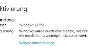 Windows 10 wieder aktiviert