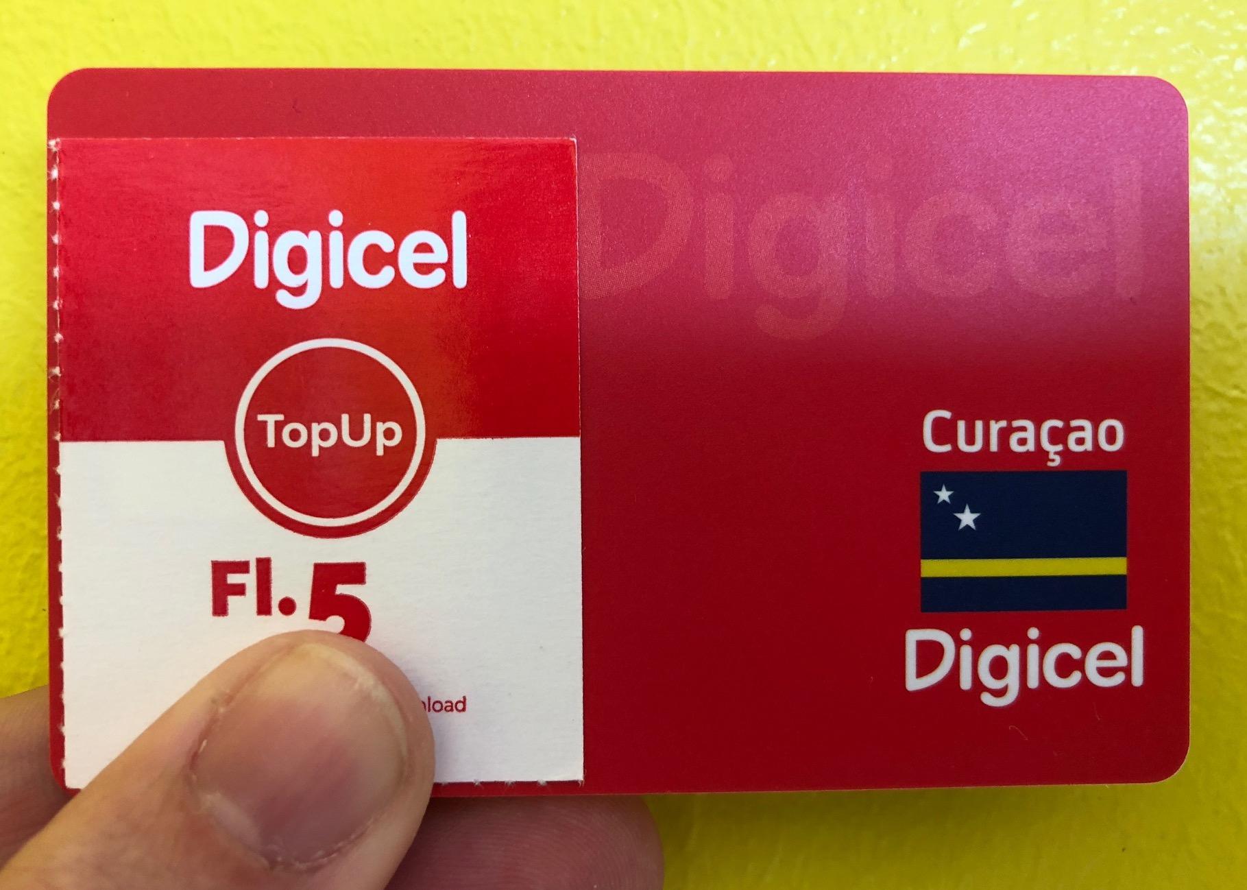 Prepaidkarte und Ladebon von Digicel Curacao