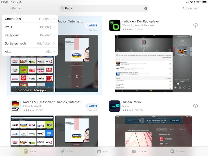 AppStore auf dem iPad Pro 10.5 (Foto: SmartPhoneFan.de)