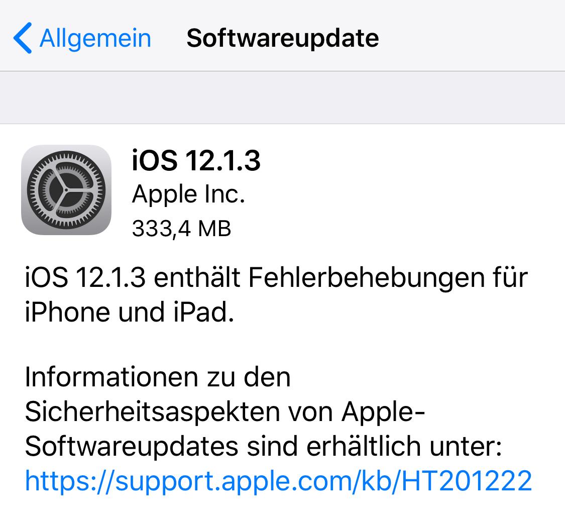 iOS 12.1.3 installiert (Foto: SmartPhoneFan.de)