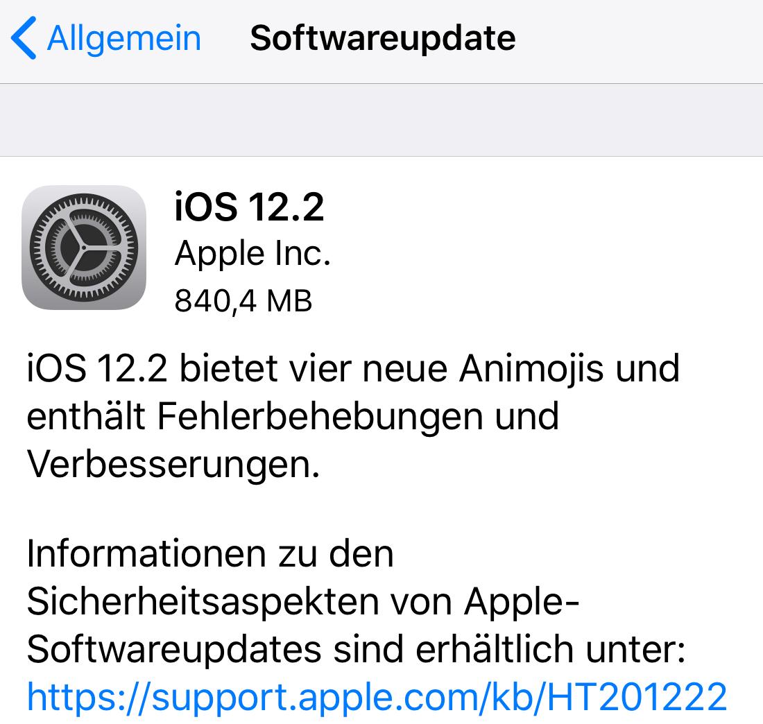 iOS 12.2 installiert (Foto: SmartPhoneFan.de)