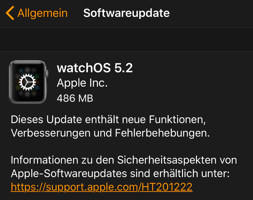 watchOS 5.2 installiert (Foto: SmartPhoneFan.de)