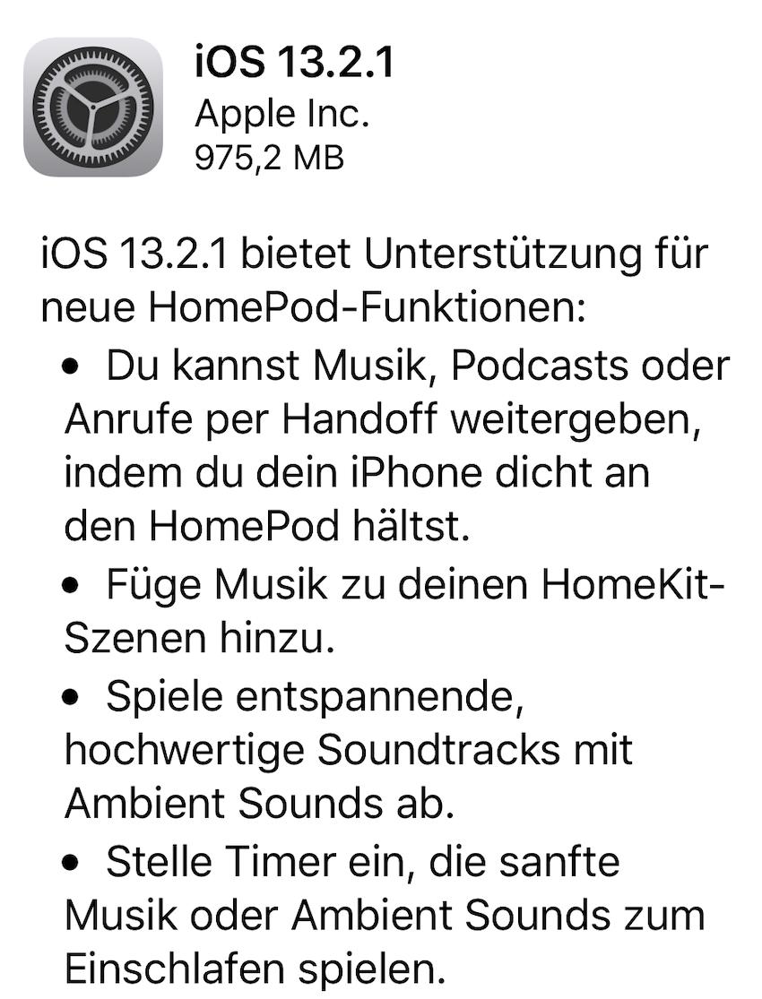 HomePod auf iOS 13.2.1 aktualisiert (Foto: SmartPhoneFan.de)
