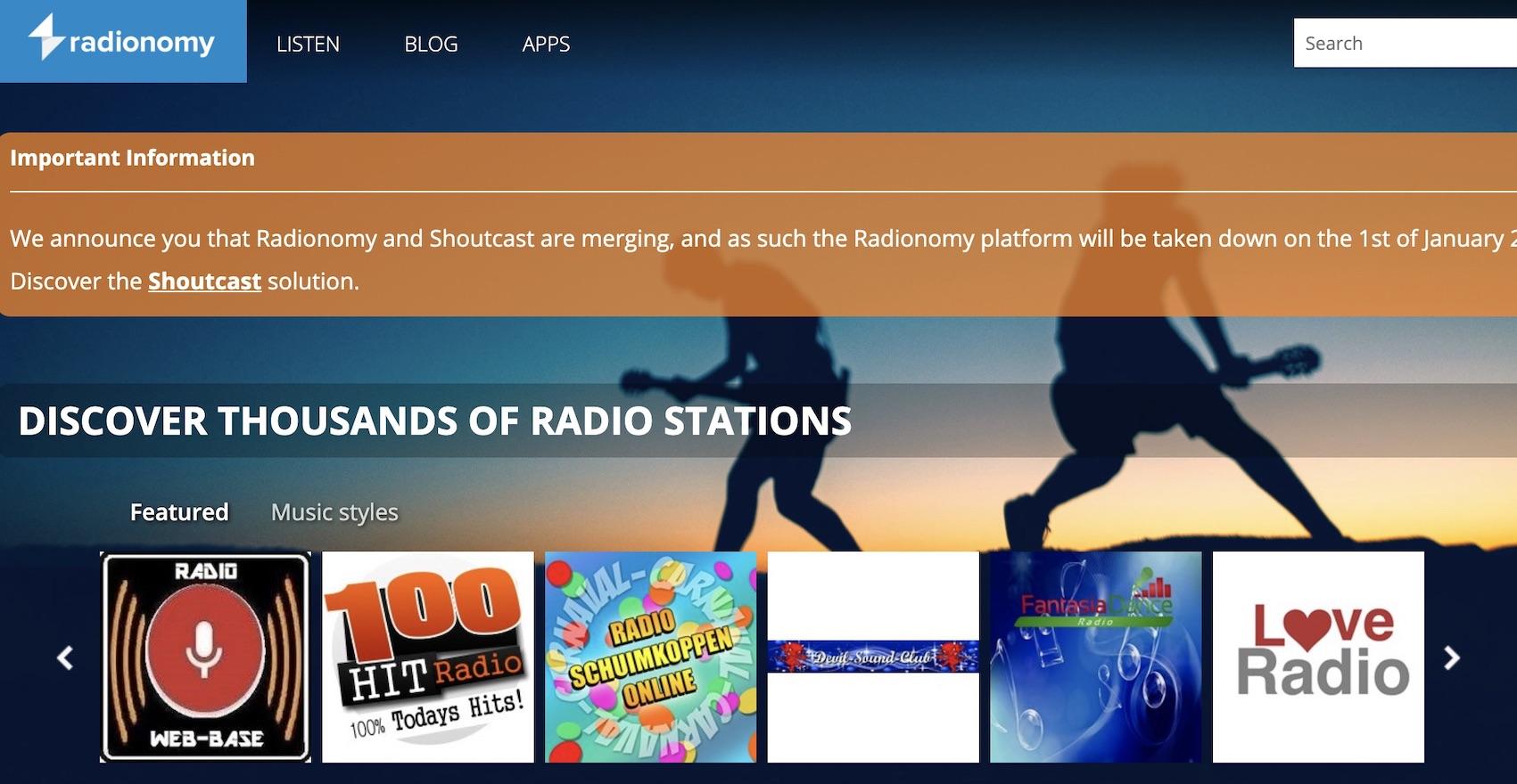 Radionomy gibt zum Jahresende auf (Screenshot: SmartPhoneFan.de)