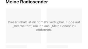 """""""Mein Sonos"""" ohne """"Meine Radiosender"""" (Foto: SmartPhoneFan.de)"""