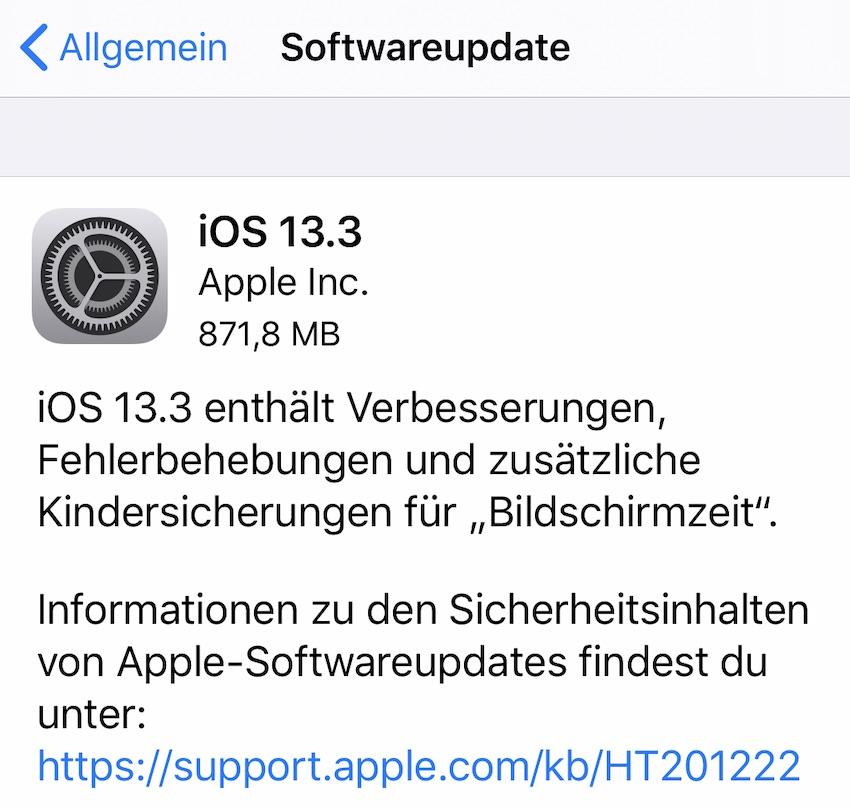 iOS 13.3 installiert (Foto: SmartPhoneFan.de)