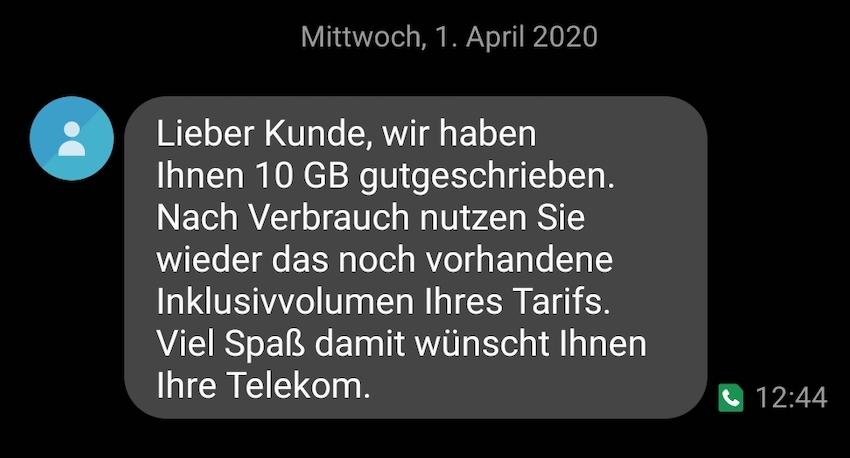 Gratis-Datenpaket gebucht (Foto: SmartPhoneFan.de)