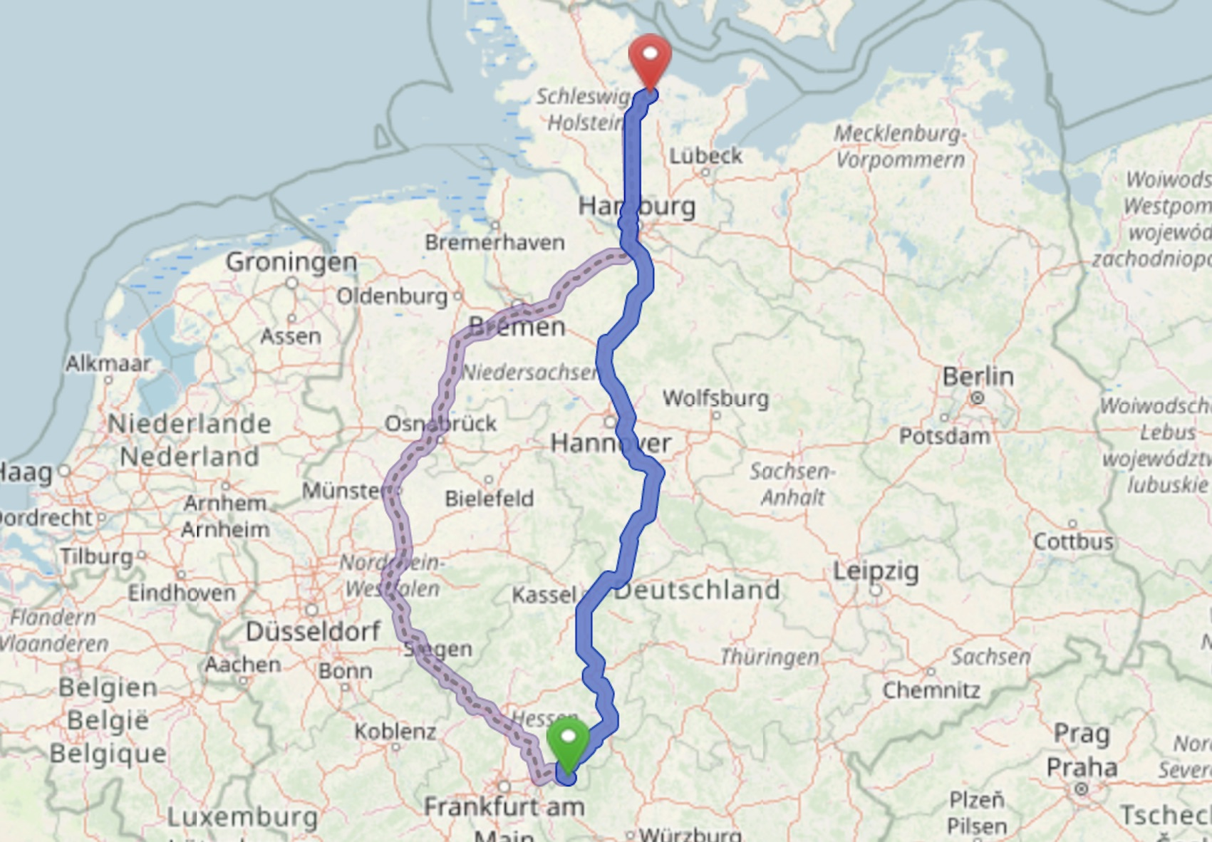 Reise in den Norden (Foto: Open Street Map)