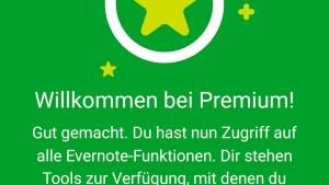 Evernote Premium gebucht (Screenshot: SmartPhoneFan.de)