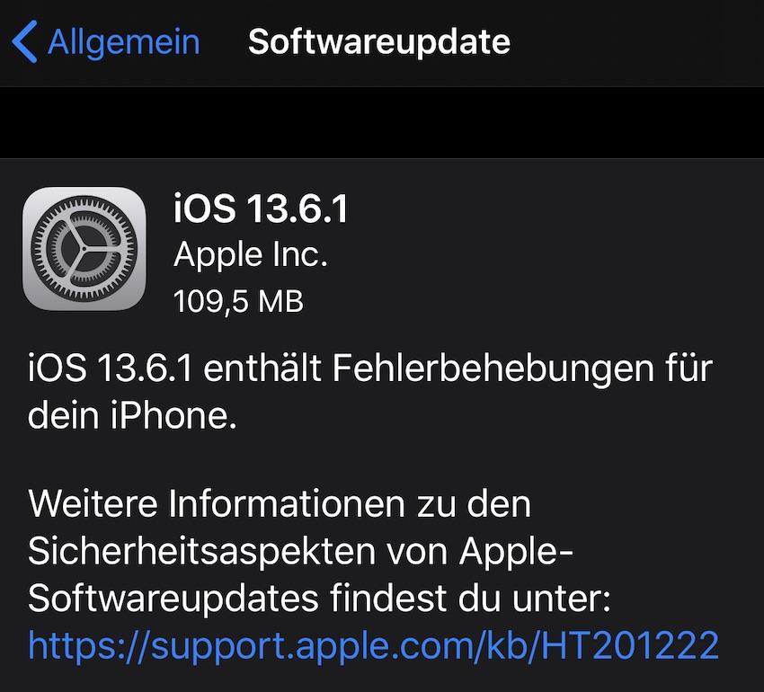 iOS 13.6.1 installiert (Foto: SmartPhoneFan.de)