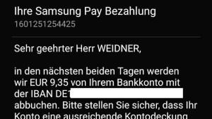 Abbuchungs-Ankündigung per SMS (Foto: SmartPhoneFan.de)