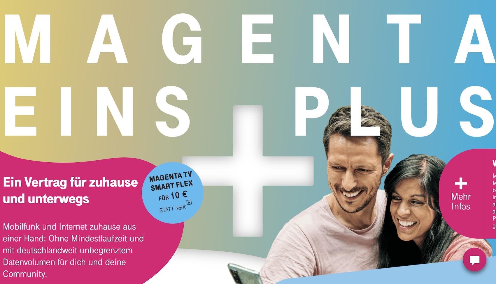 MagentaEINS Plus kann jetzt auch TV (Quelle: telekom.de, Screenshot: SmartPhoneFan.de)