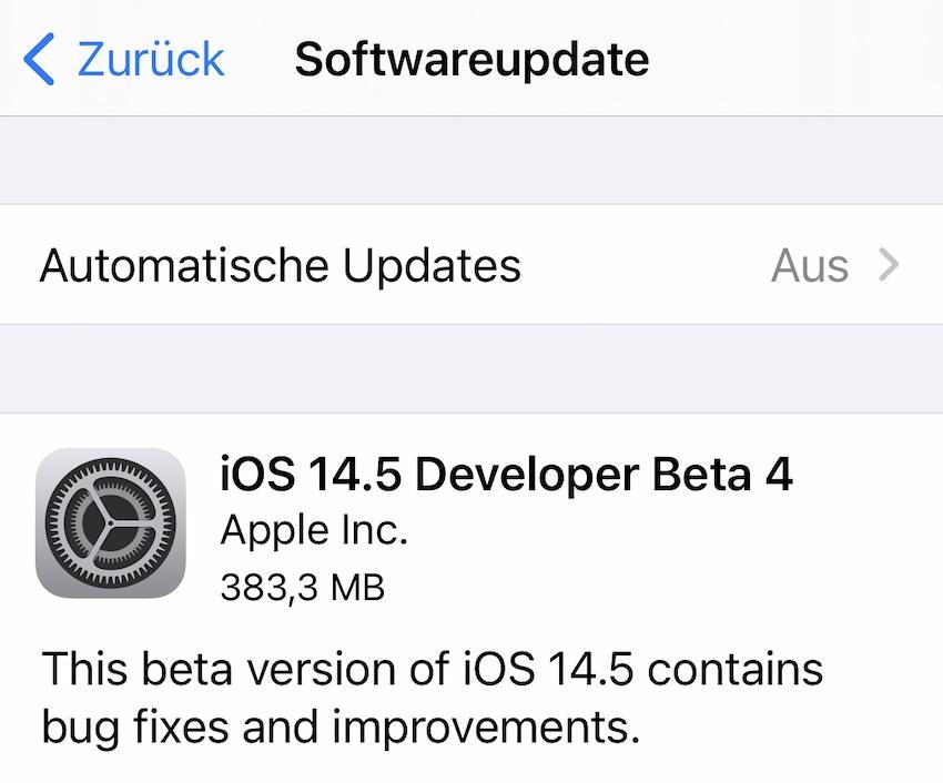 iOS 14.5 Beta 4 installiert (Foto: SmartPhoneFan.de)
