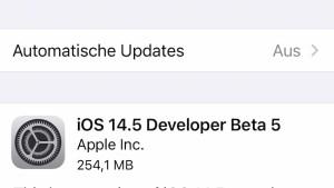 iOS 14.5 Beta 5 installiert (Screenshot: SmartPhoneFan.de)