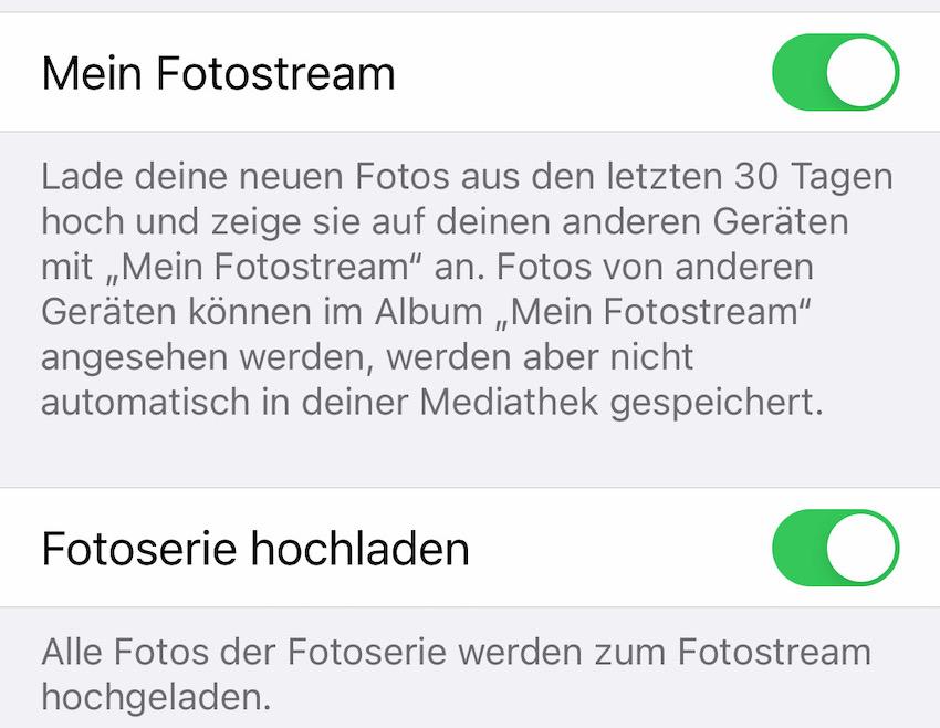 Fotostream aktiviert (Screenshot: SmartPhoneFan.de)