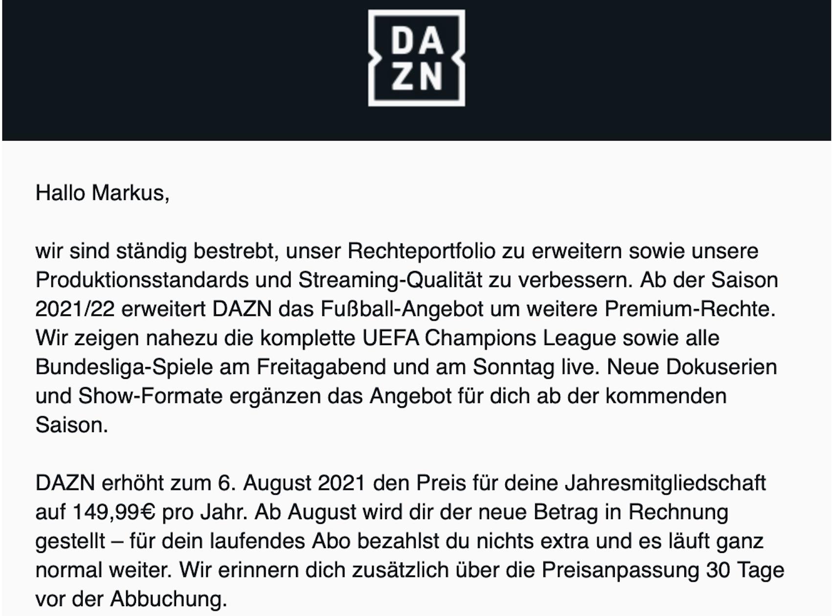 DAZN-Info zur Preiserhöhung (Screenshot: SmartPhoneFan.de)