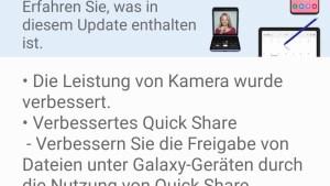 Feature-Update für Galaxy S20 Ultra (Screenshot: SmartPhoneFan.de)