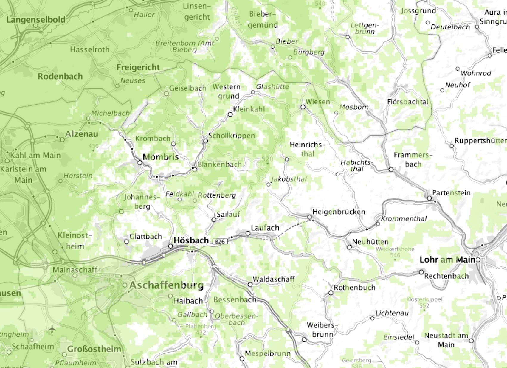 Antenne Deutschland mit Funkloch im Spessart (Quelle: empfangsprognose.de)