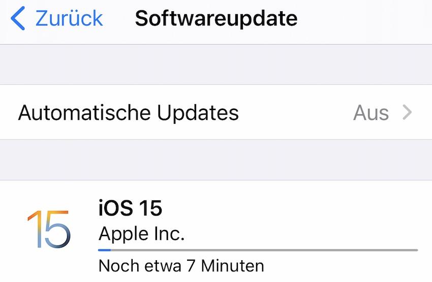iOS 15 installiert (Foto: SmartPhoneFan.de)