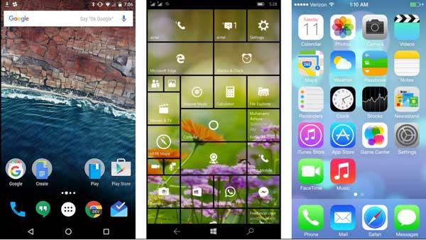 iOS 9 vs. Windows 10 Mobile vs. Android Marshmallow (Video)