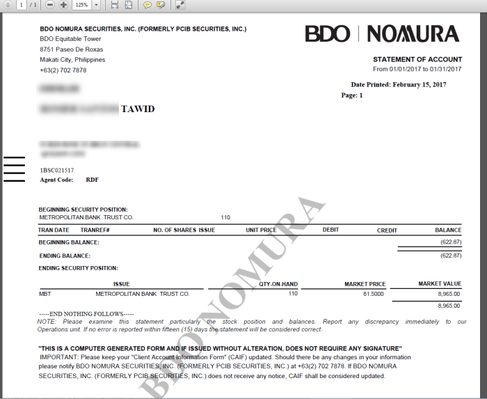 BDO Nomura Statement of Account